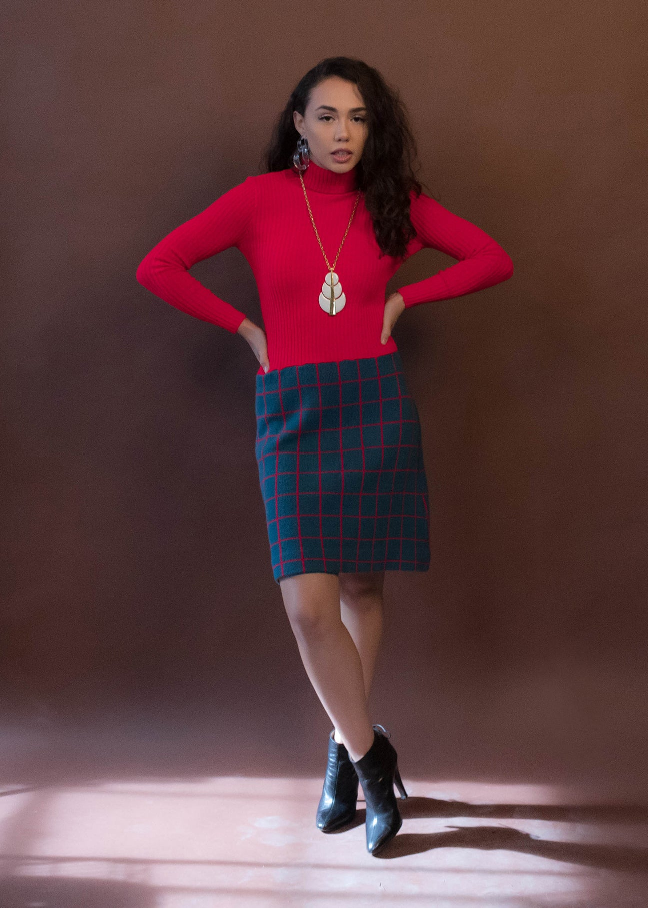 60s Mod Ribbed Wool Knit Plaid Dress