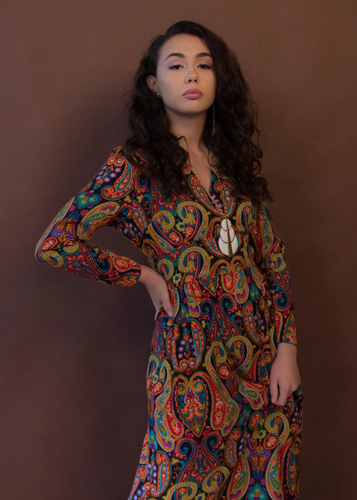 60s Psychedelic Paisley Maxi Dress
