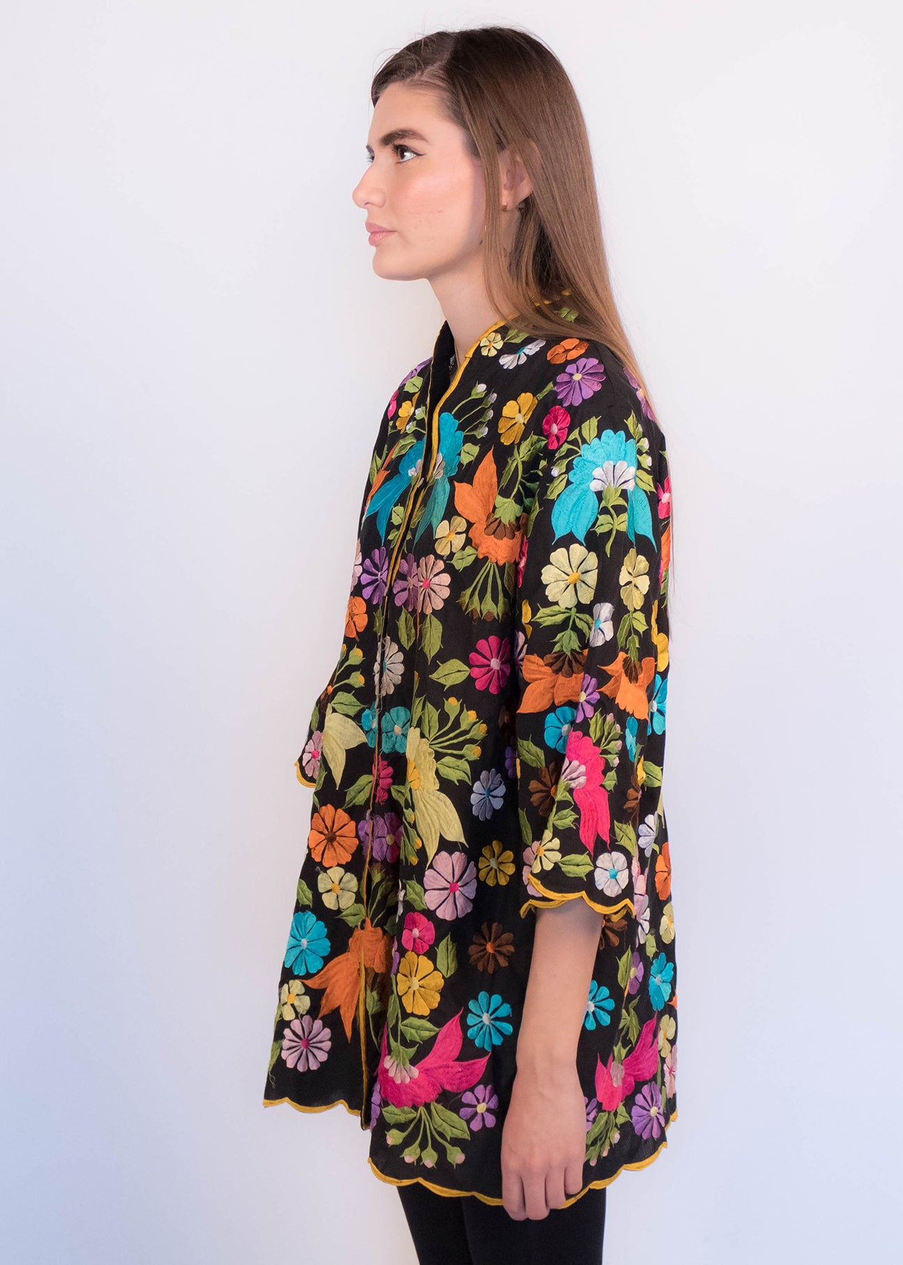 70s Embroidered Caftan Top