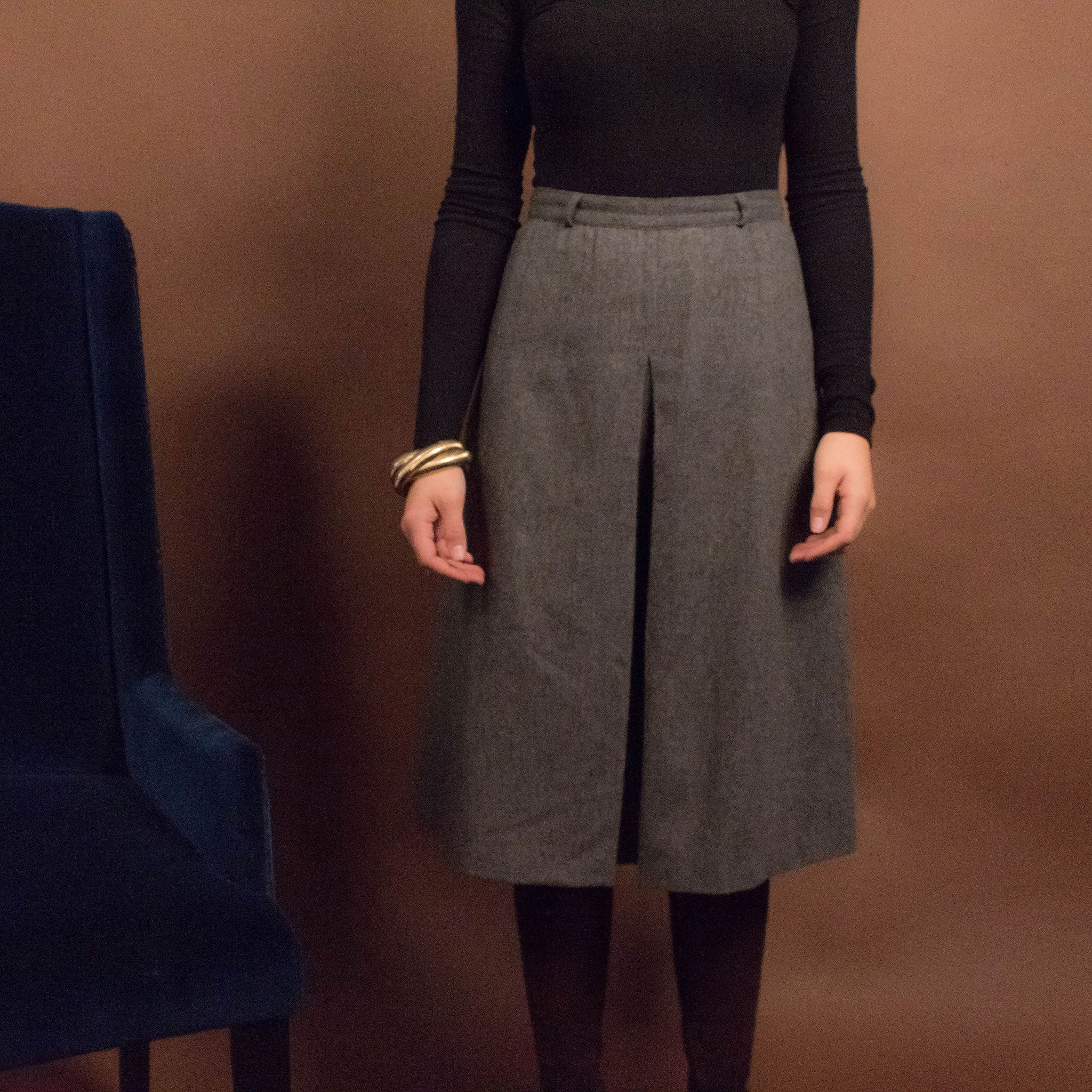 60s Wool Kick-Pleat Skirt