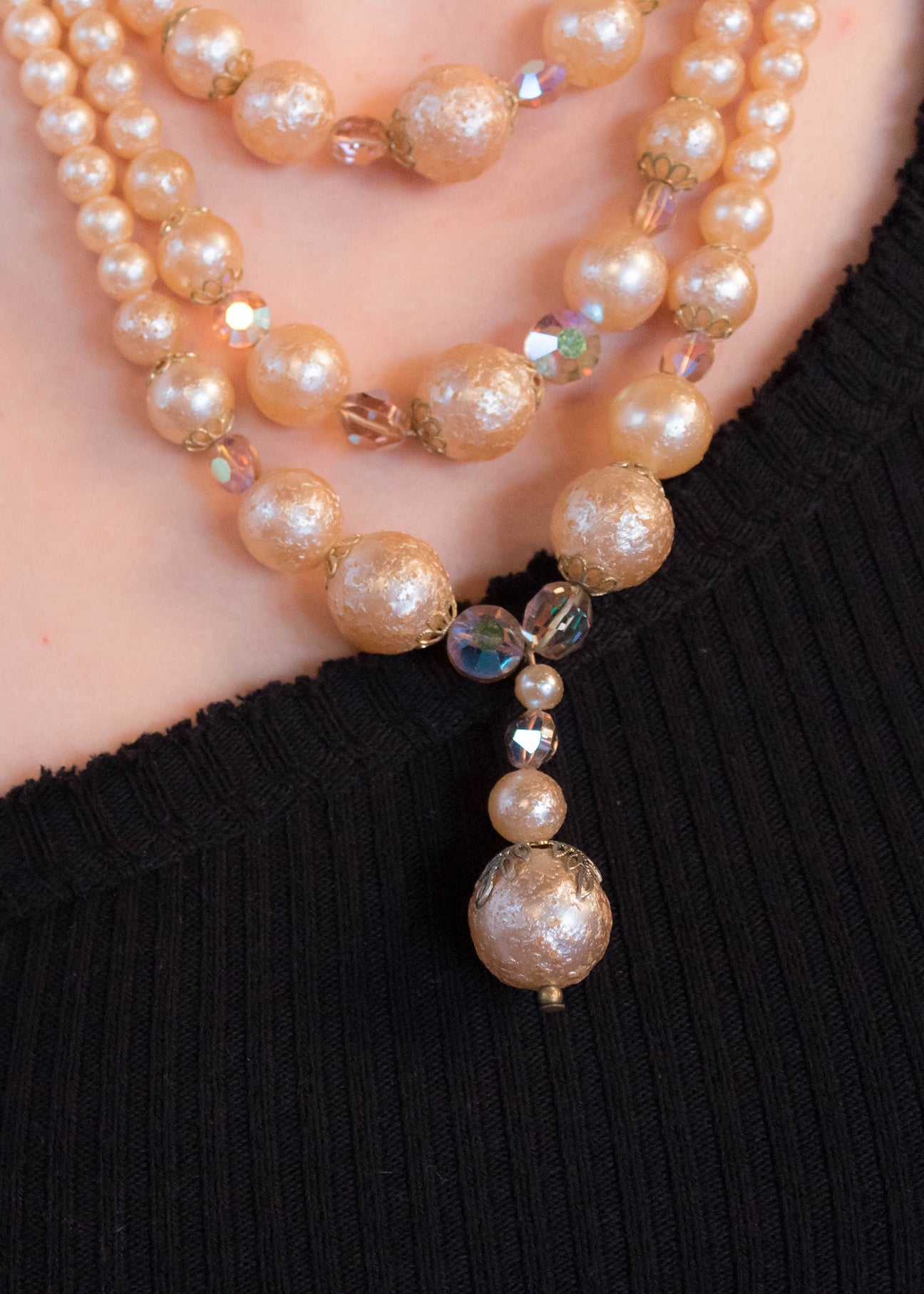 60s Rose-Gold Faux Pearl Necklace