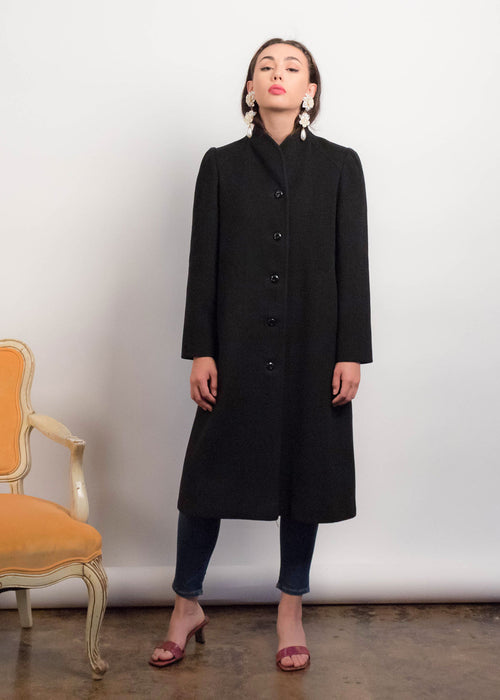80s Black Structured Wool Coat