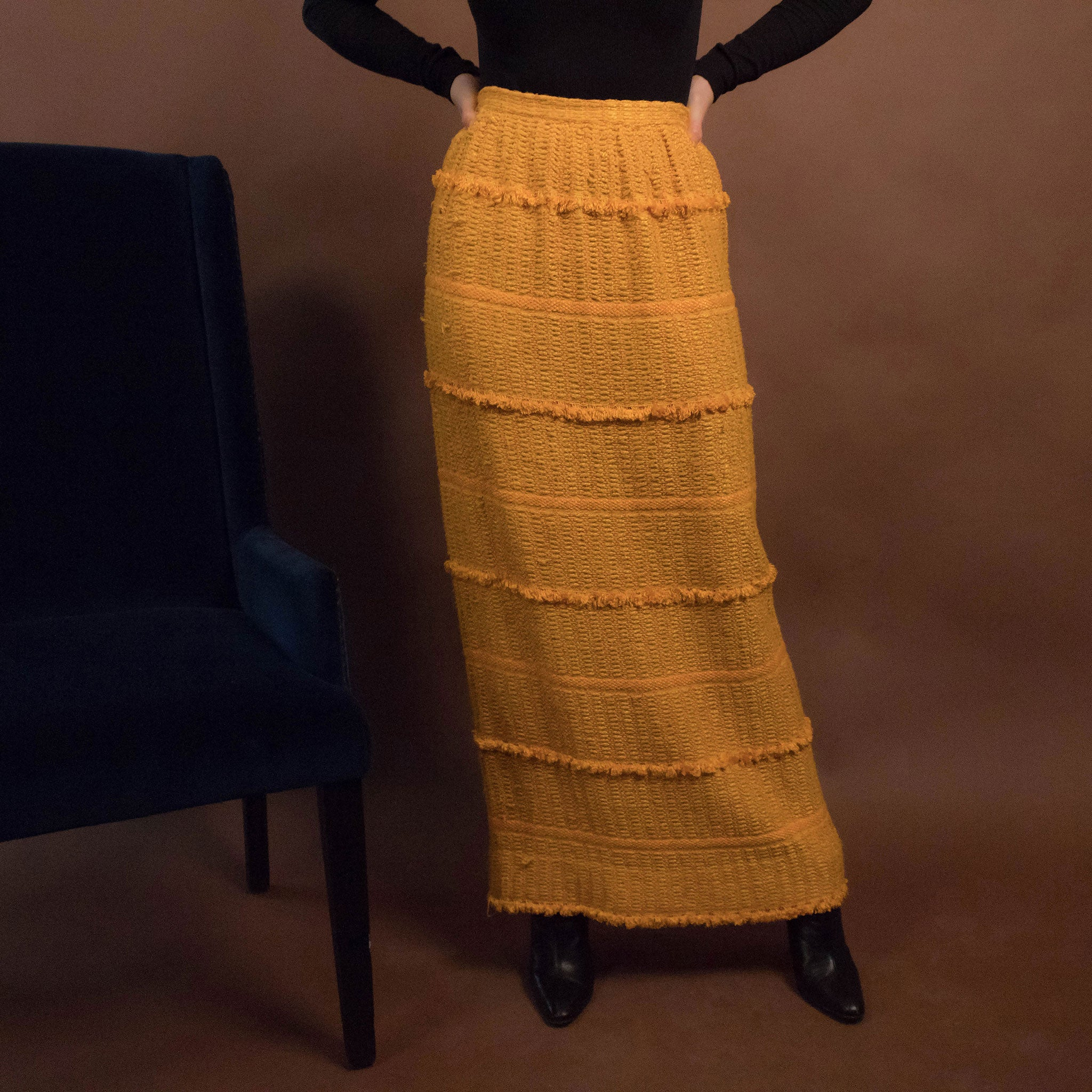 60s Tribal Boho Maxi Skirt