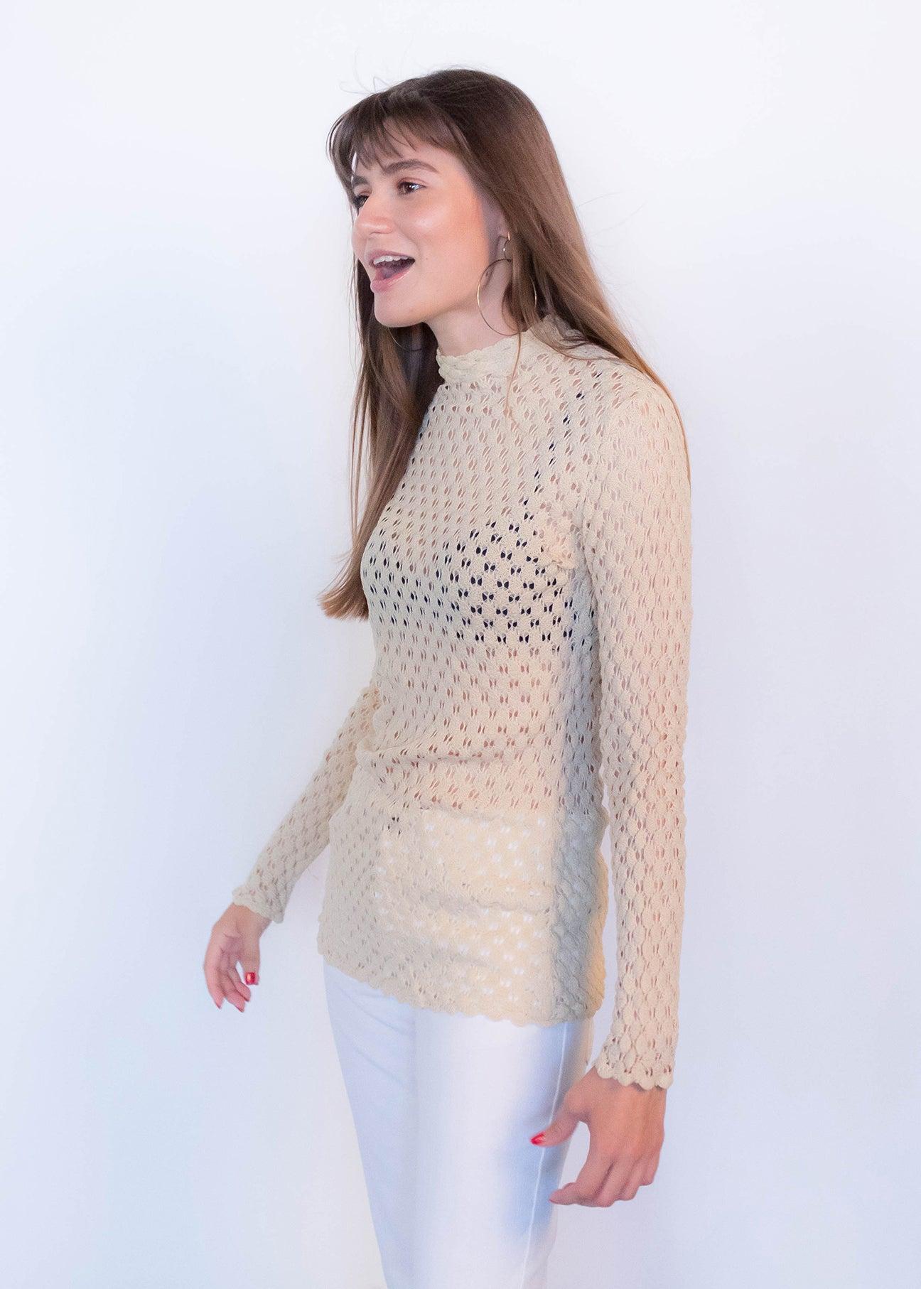 60s Crochet Ecru Top