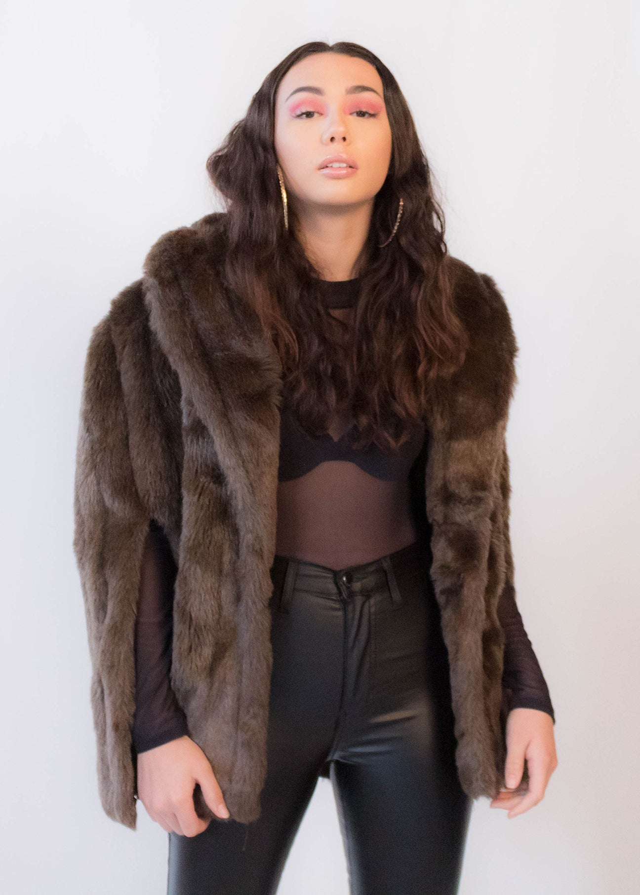 80s Faux Fur Cape