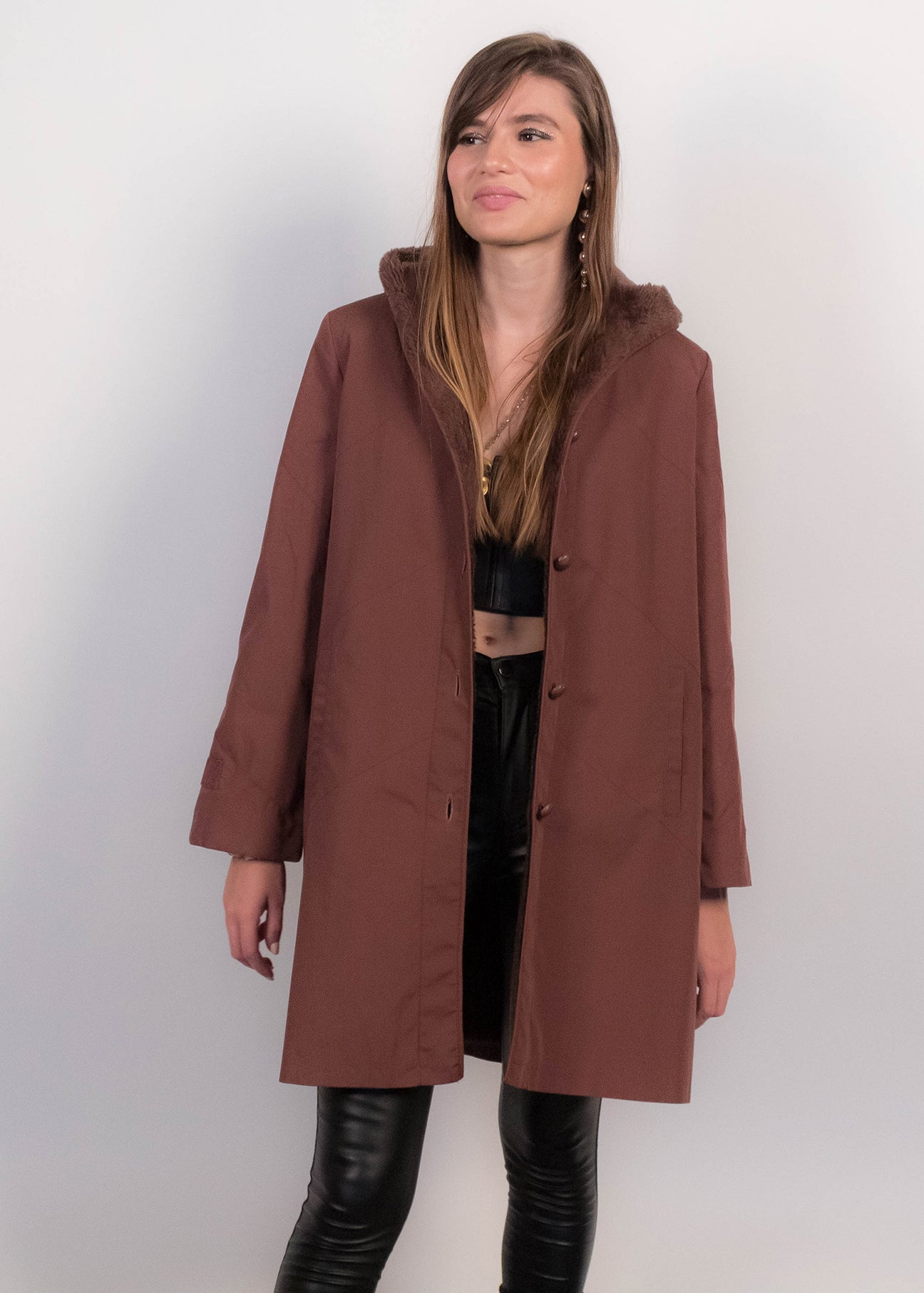 70s Faux Sherpa Lined Coat