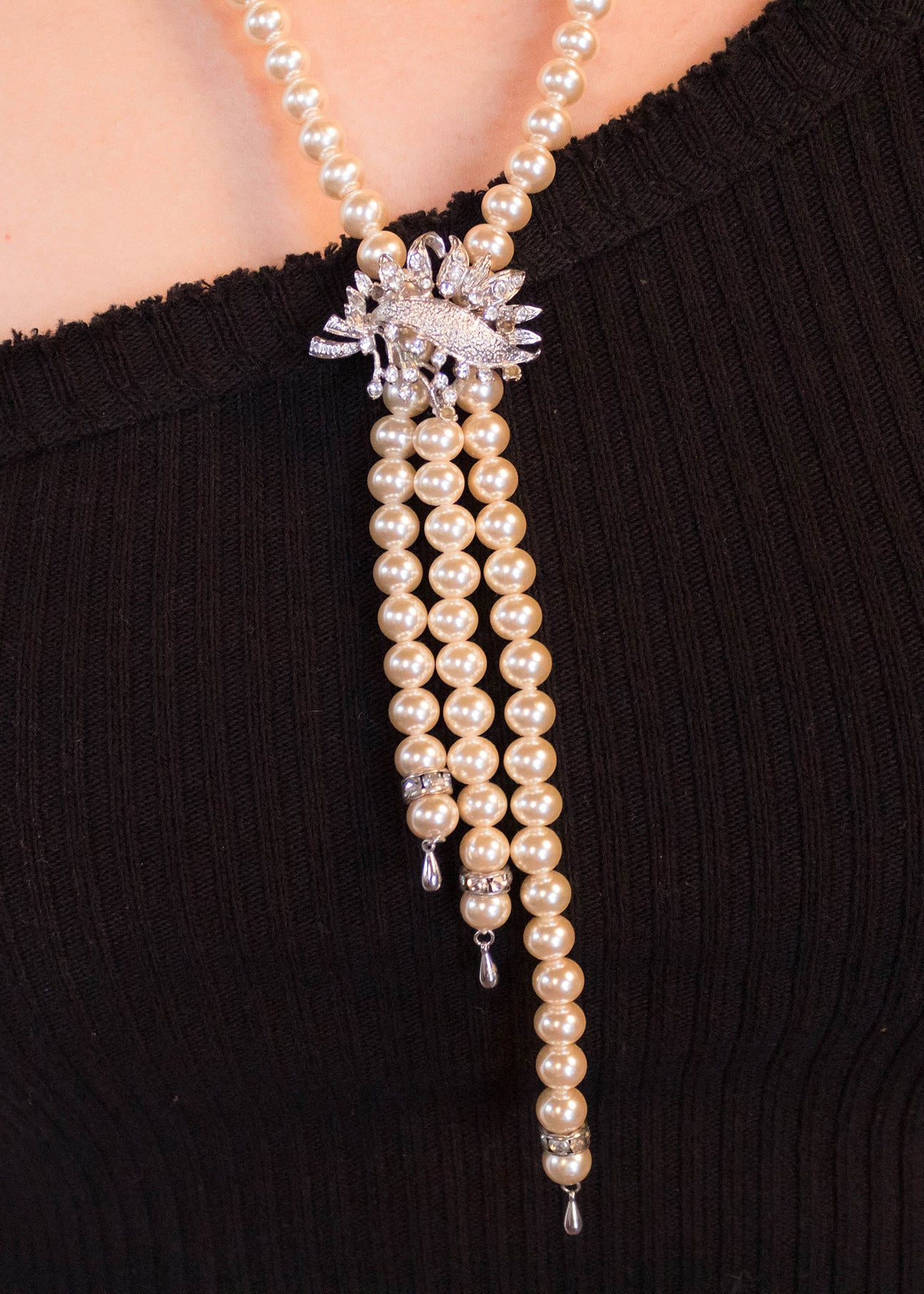 50s Faux Pearl Baroque Necklace