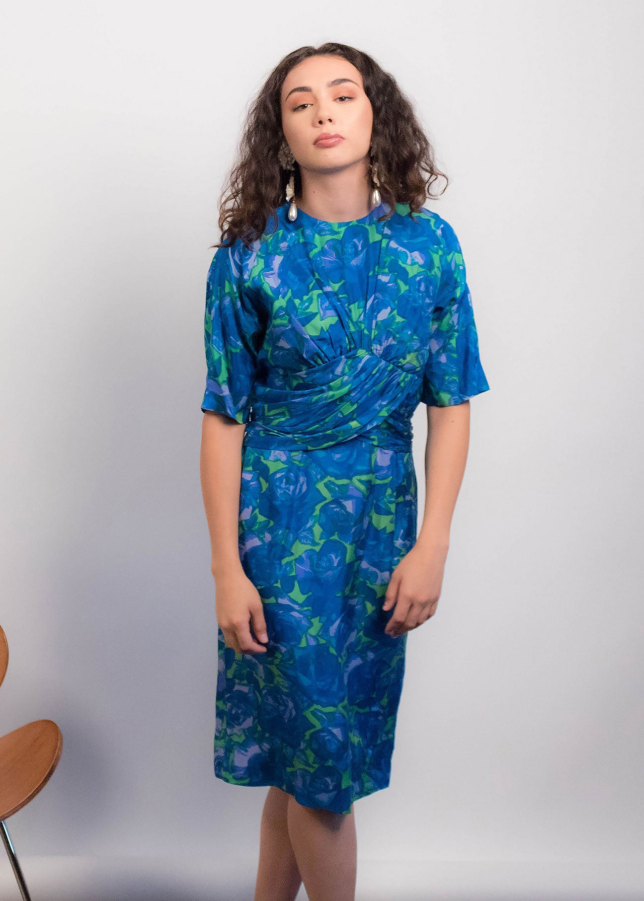 60s Bold Silk Floral Dress