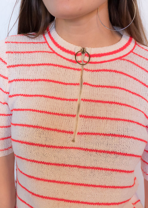 60s Neon Orange Stripe Knit Top