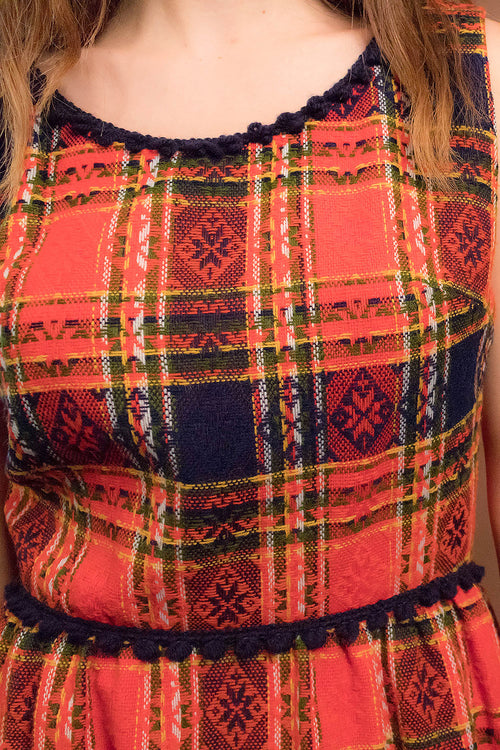 60s Tartan Wool Plaid Dress