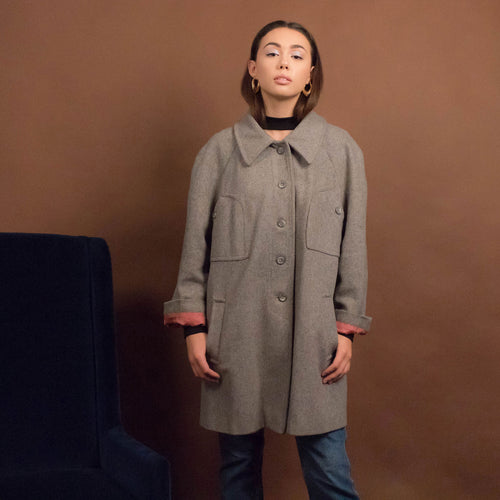 60s Gray Wool Coat