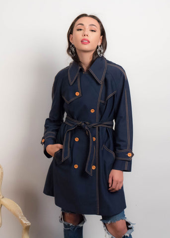 80s Anne Klein Black Trench Coat