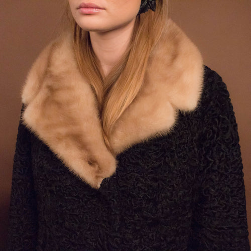 60s Persian Lamb Mink Collar Coat