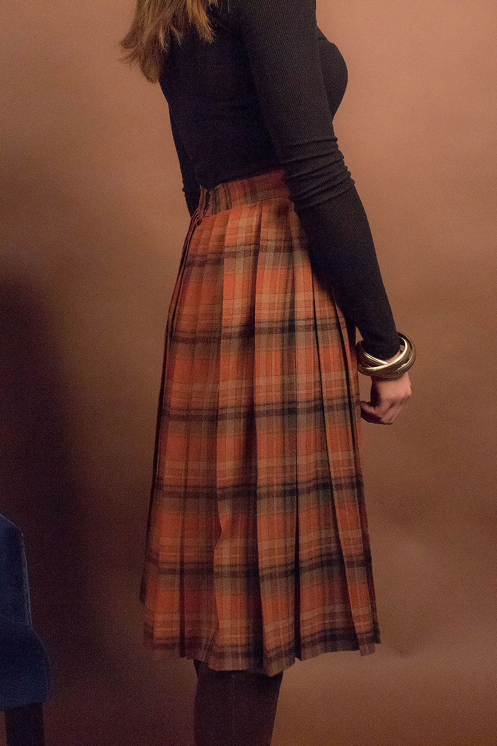 60s Wool Pleated Plaid Skirt