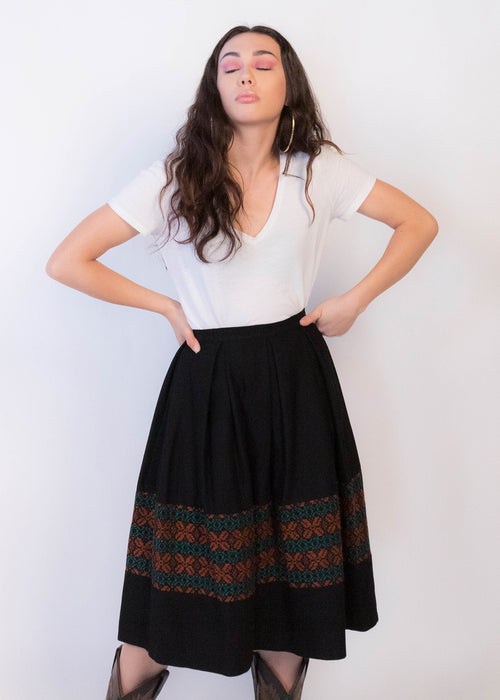 50s Mexican Wool Full Skirt