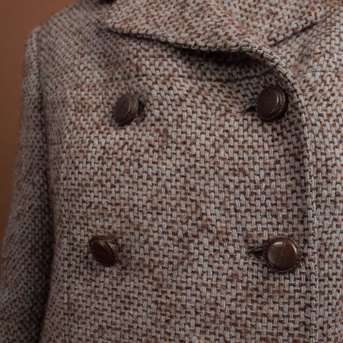 60s Blue Wool Tweed Pea-Coat