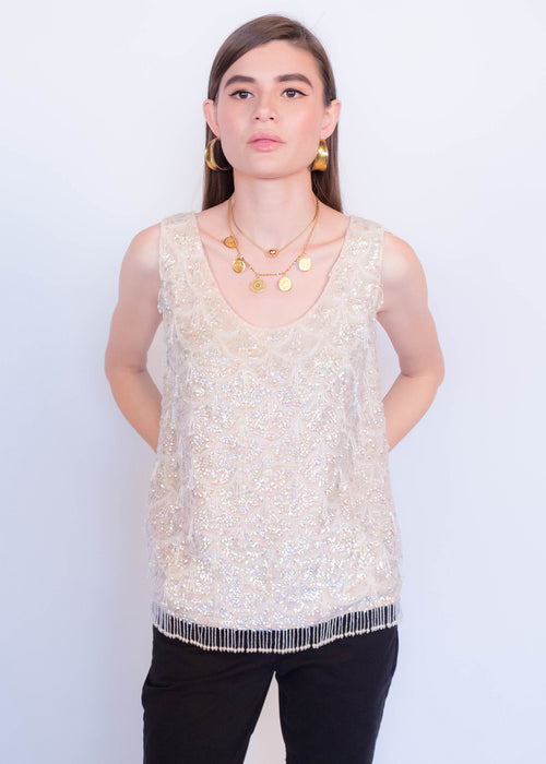 60s Glass Bead and Sequins Top