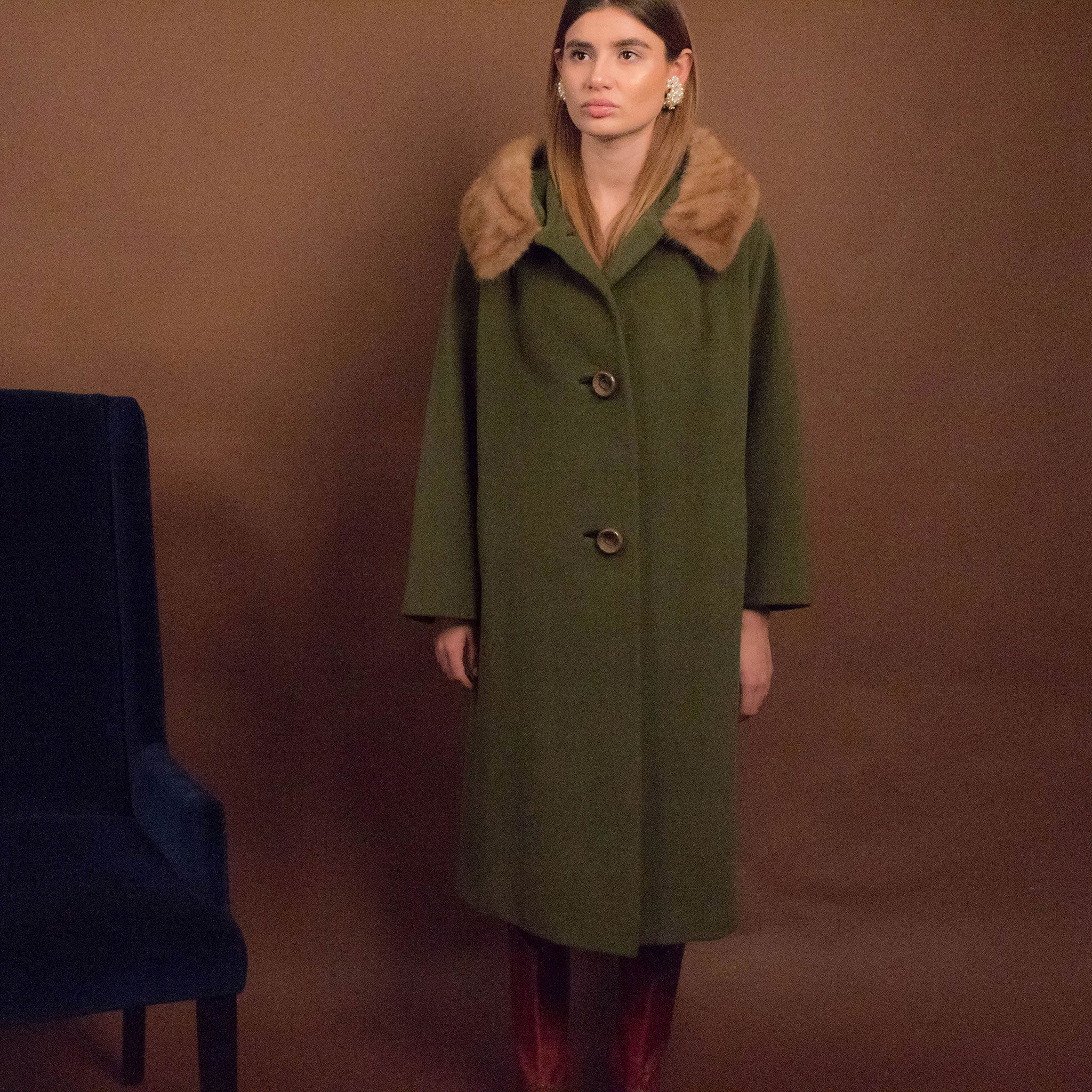 60s Wool Mink Collar Coat