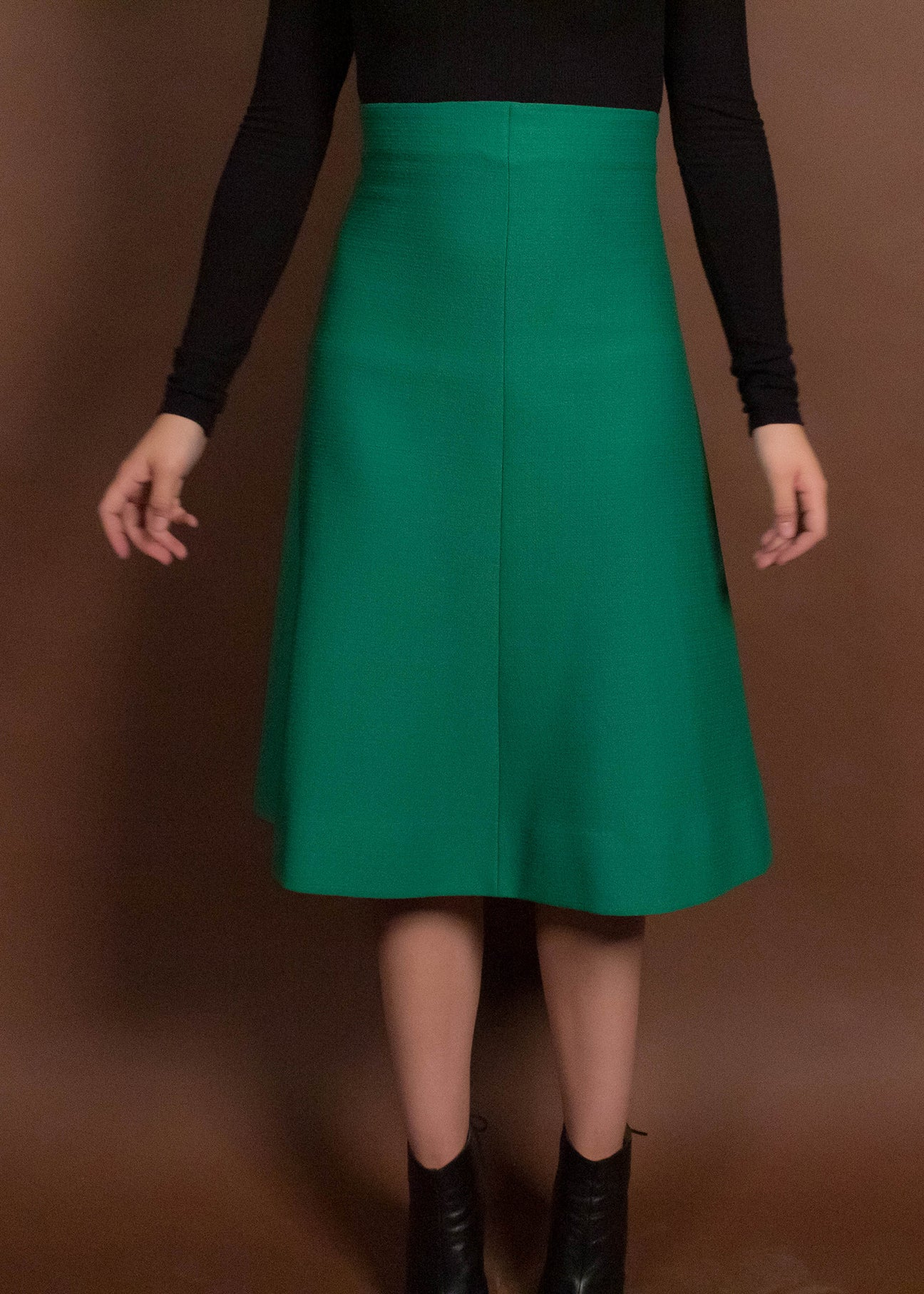 60s Kelly Green High-Waisted Skirt