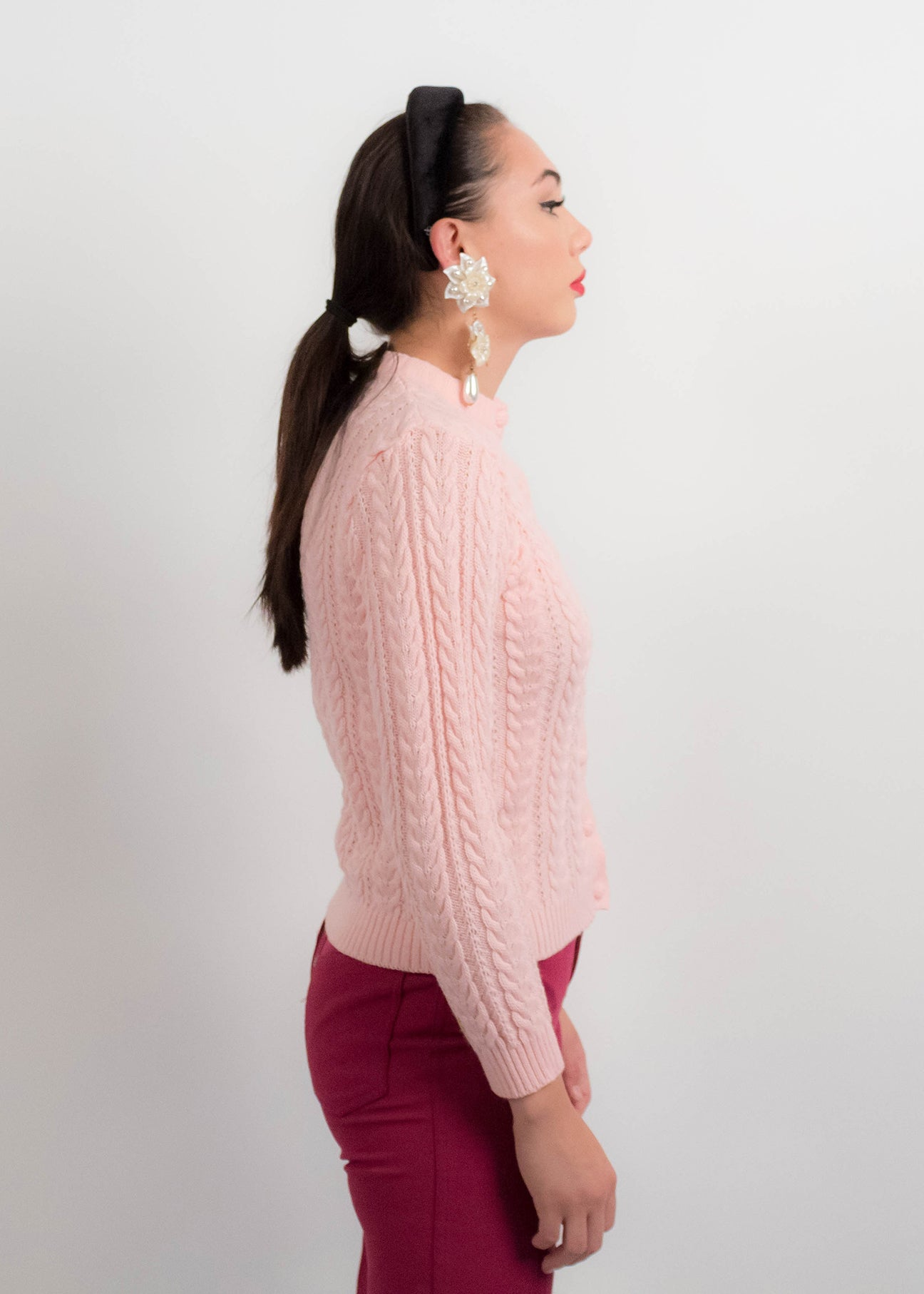 60s Cable-Knit Pink Cardigan