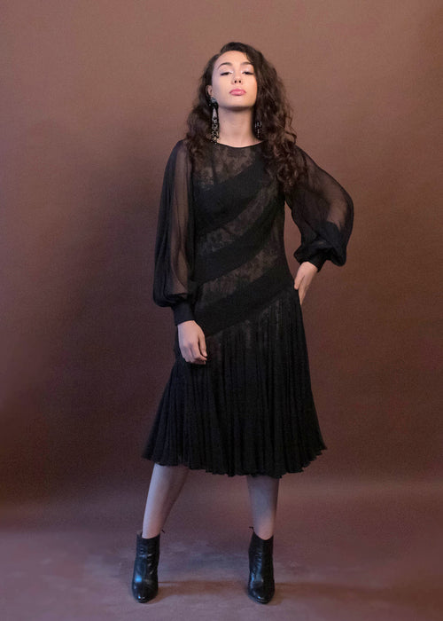 60s Black Silk Chiffon Floral Lace Dress