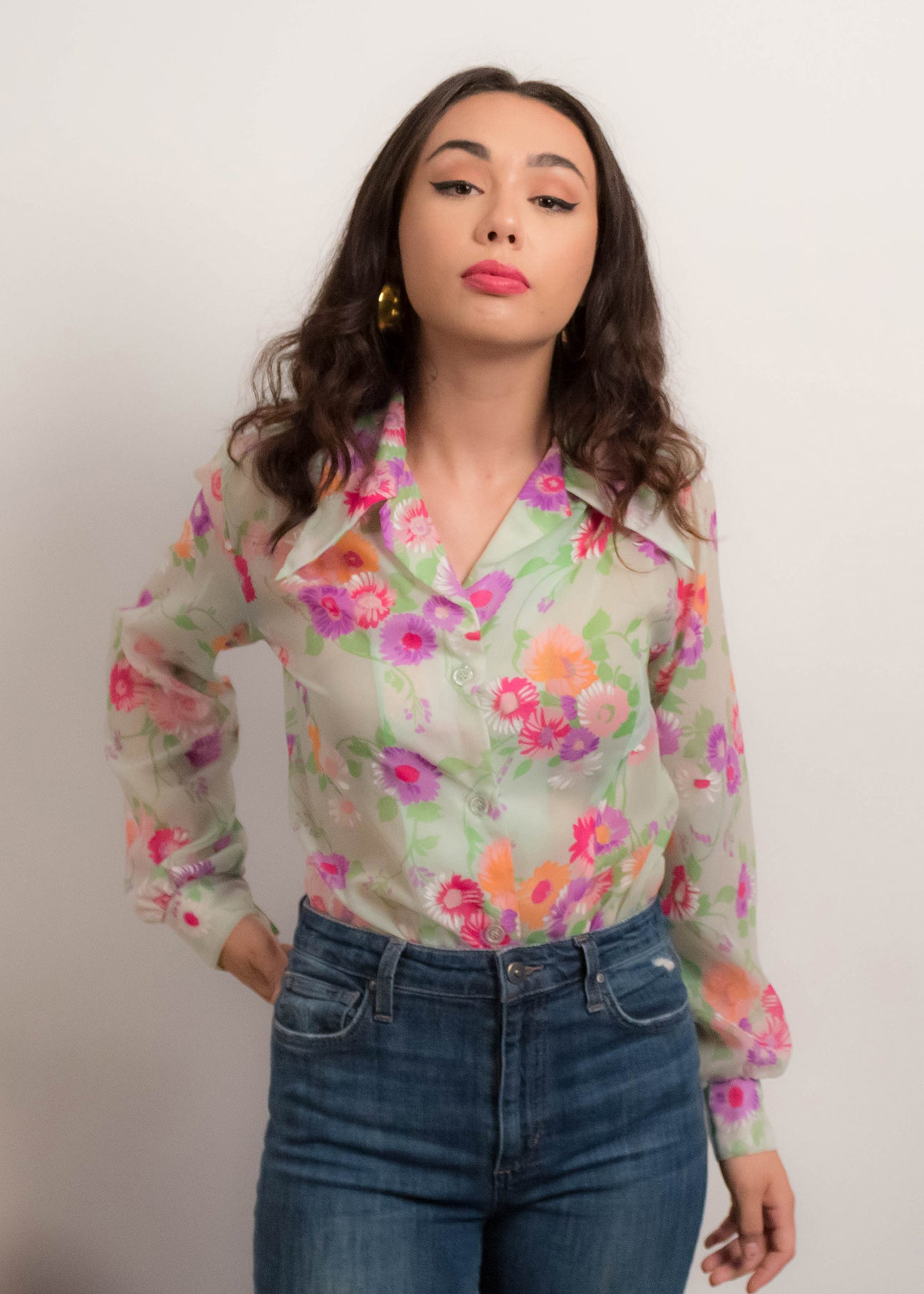 60s Pointy Collar Sheer Floral Blouse