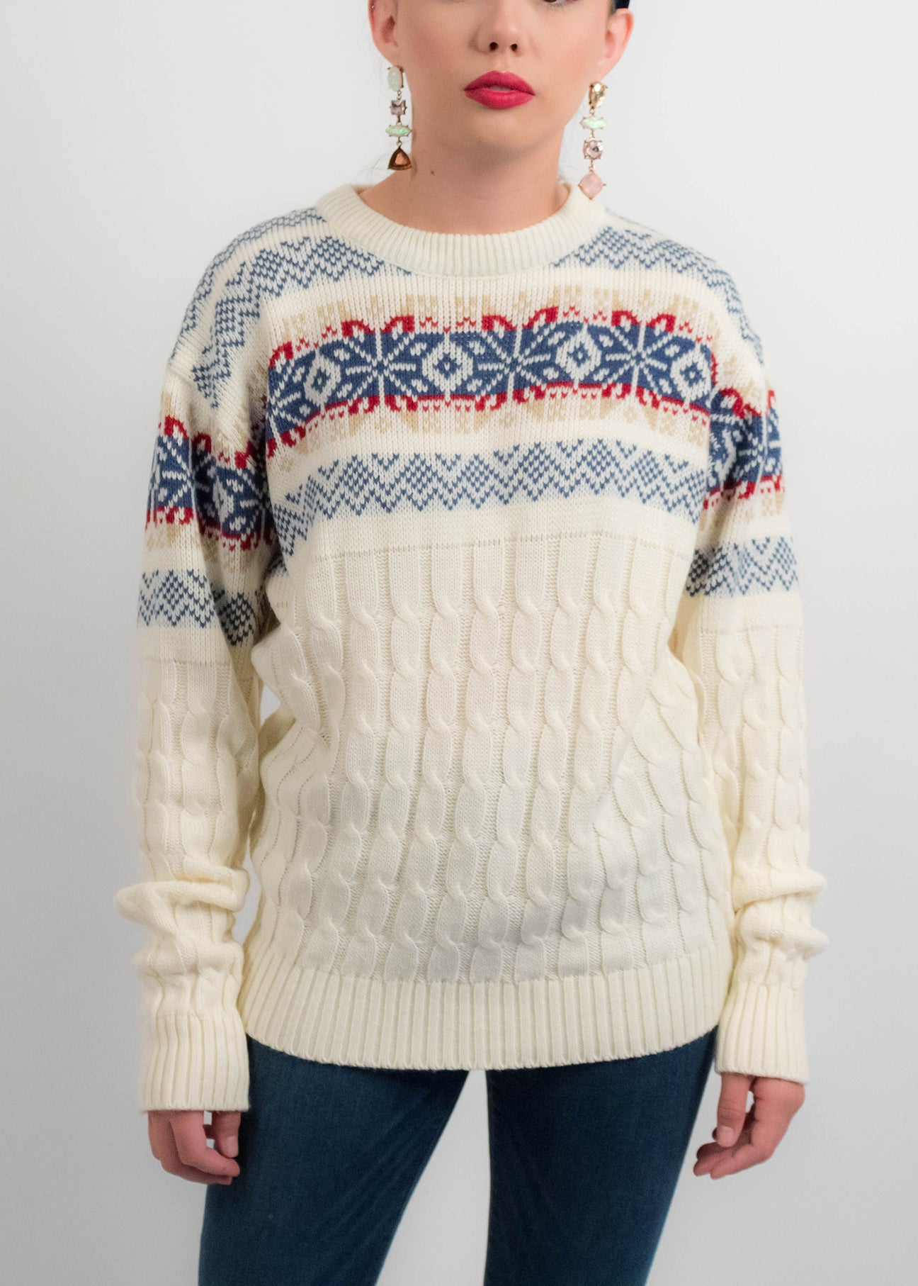 70s Cable-Knit Fair Isle Sweater