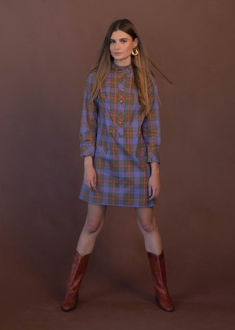 90s Tweed Plaid Maxi Dress