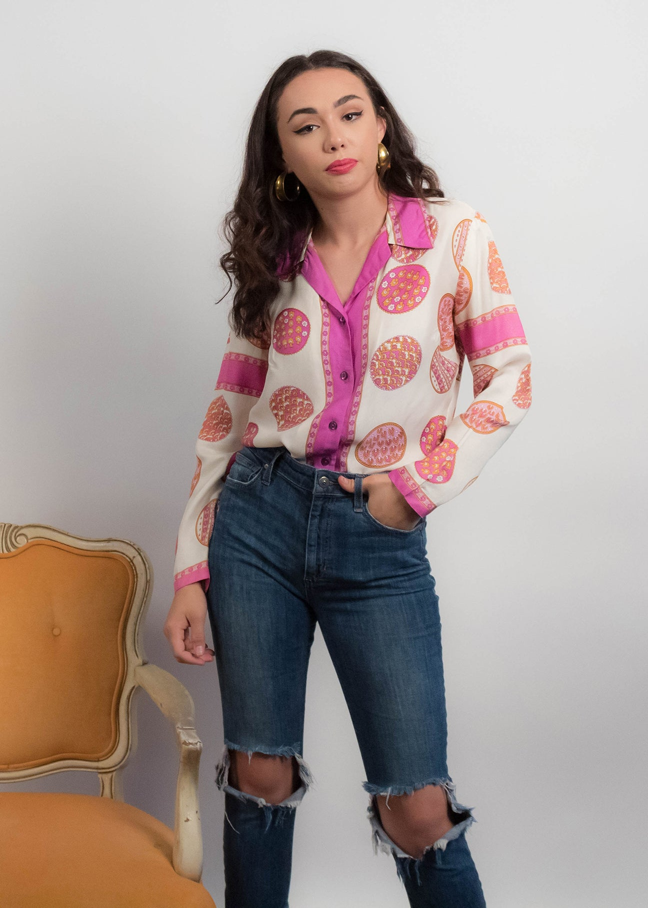 60s Silky Psychedelic Print Blouse