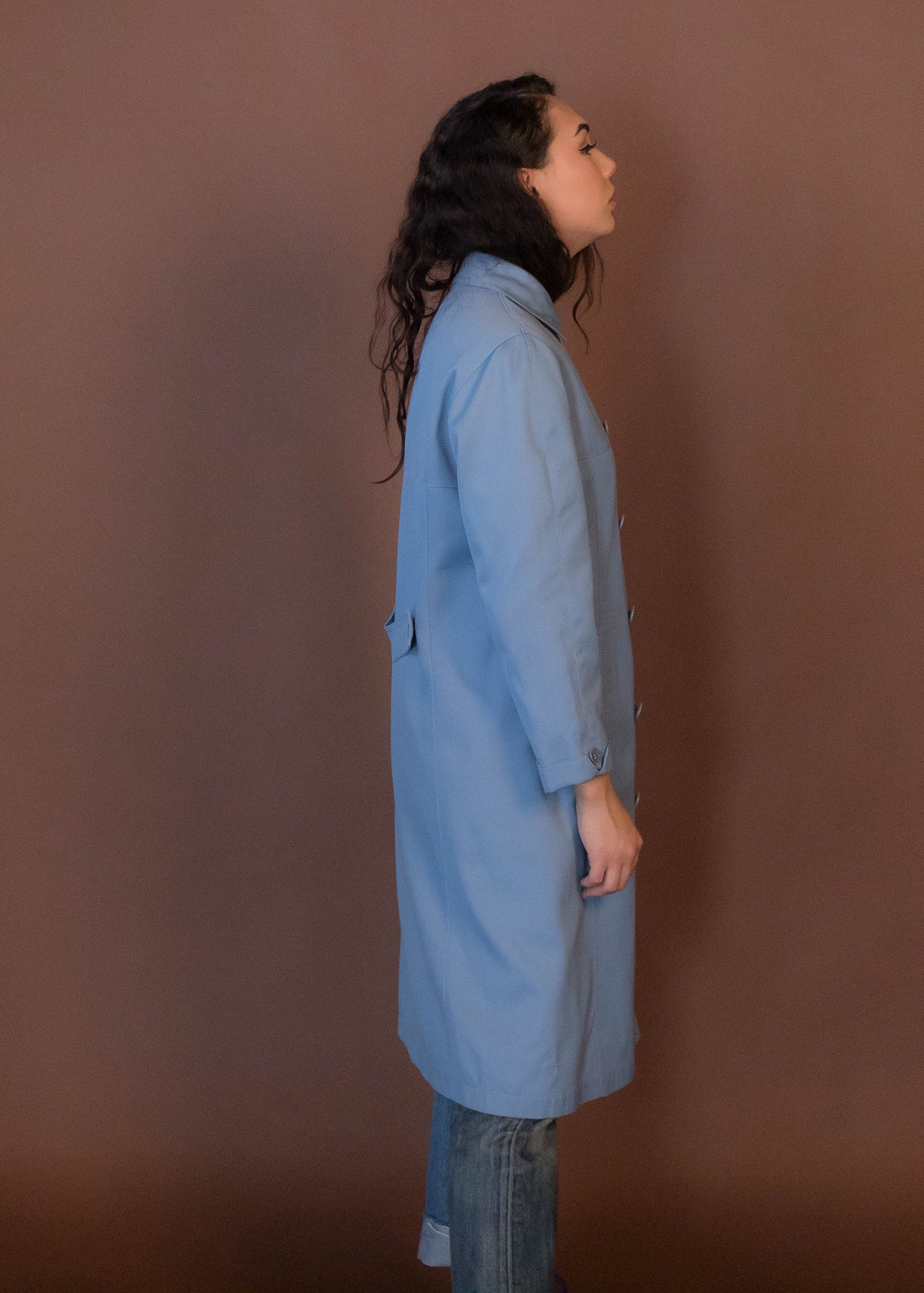60s Baby-Blue Double-Breasted Trench Coat