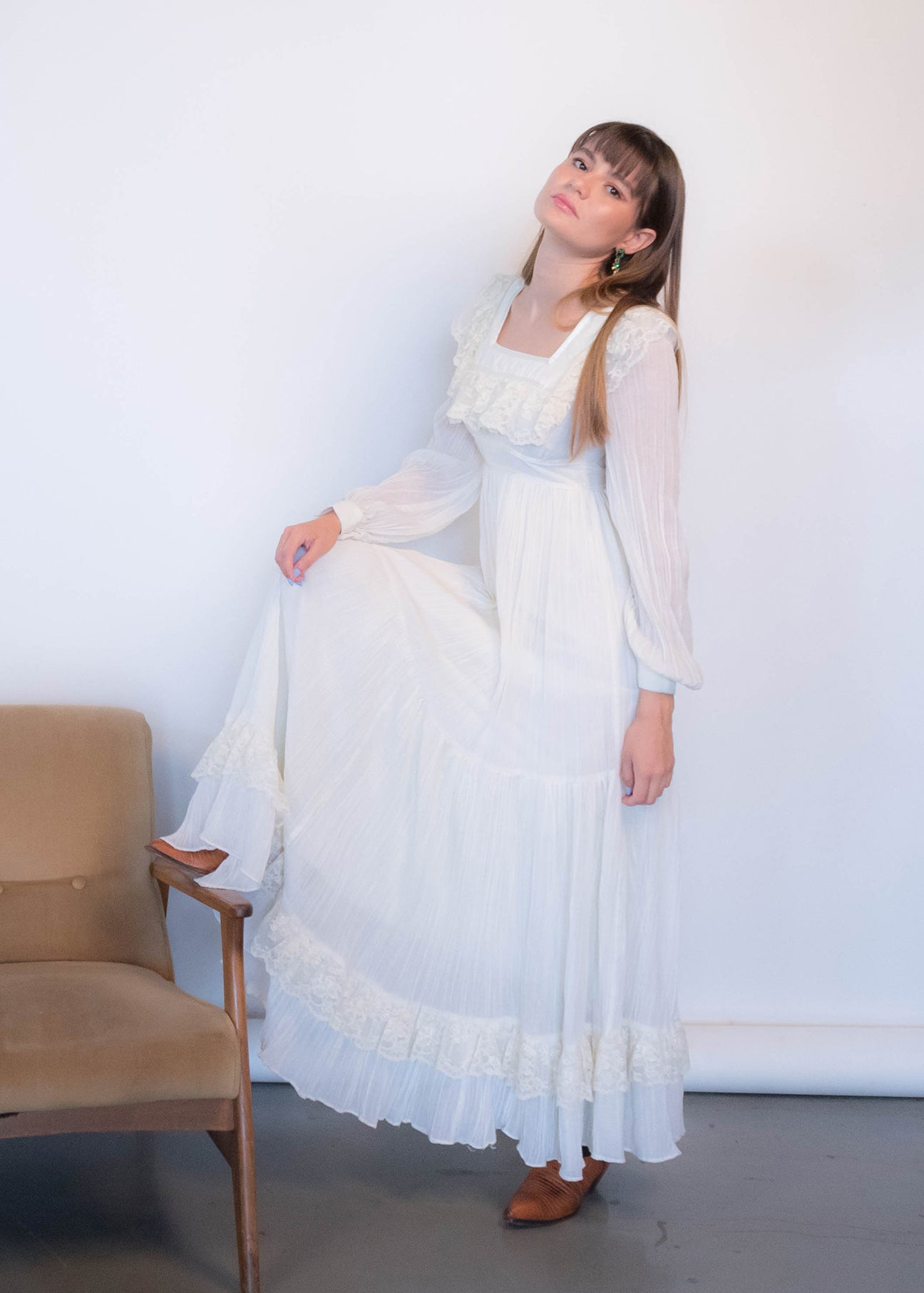 70s Gunne Sax Gauzy Prairie Dress