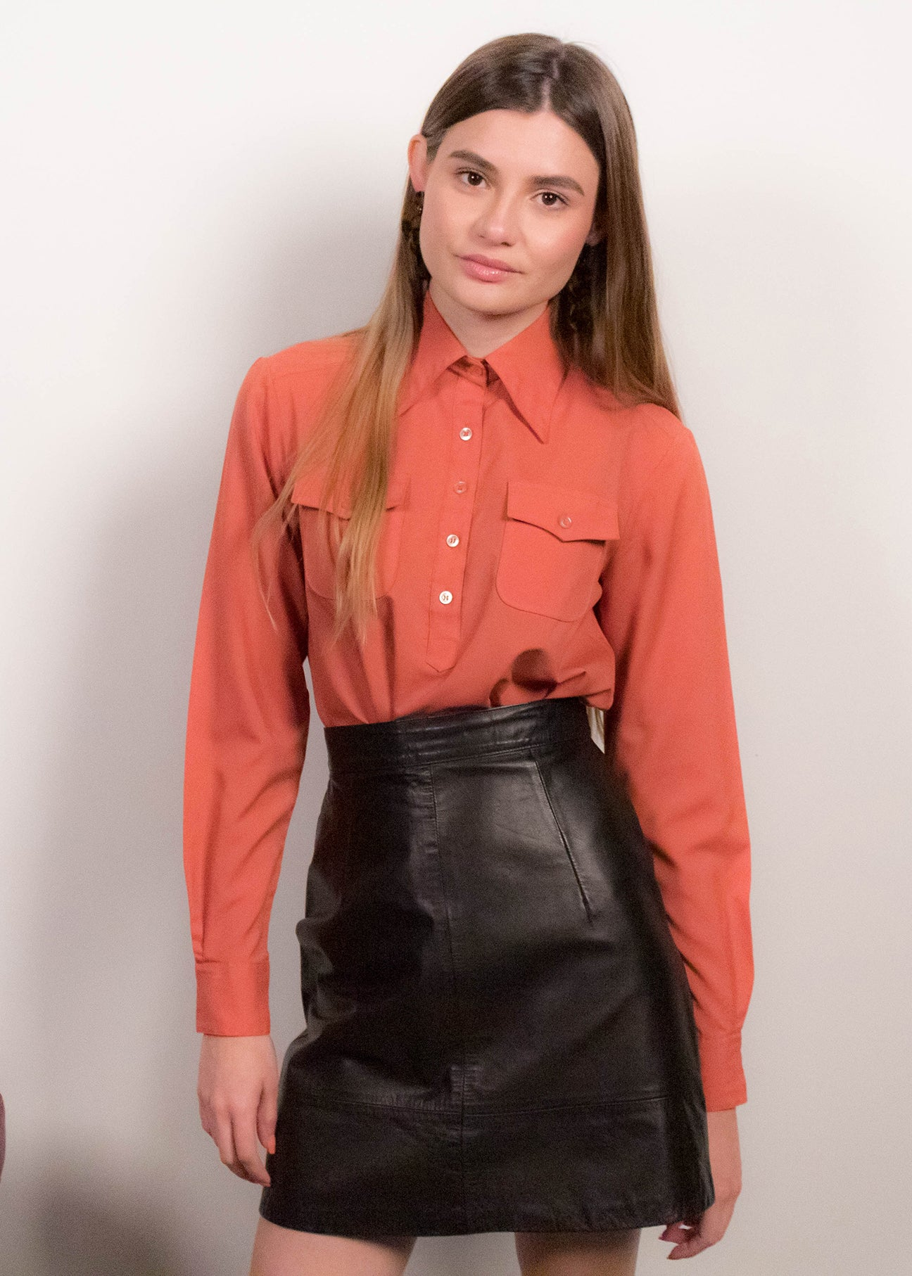 70s Pointy Collar Western Blouse