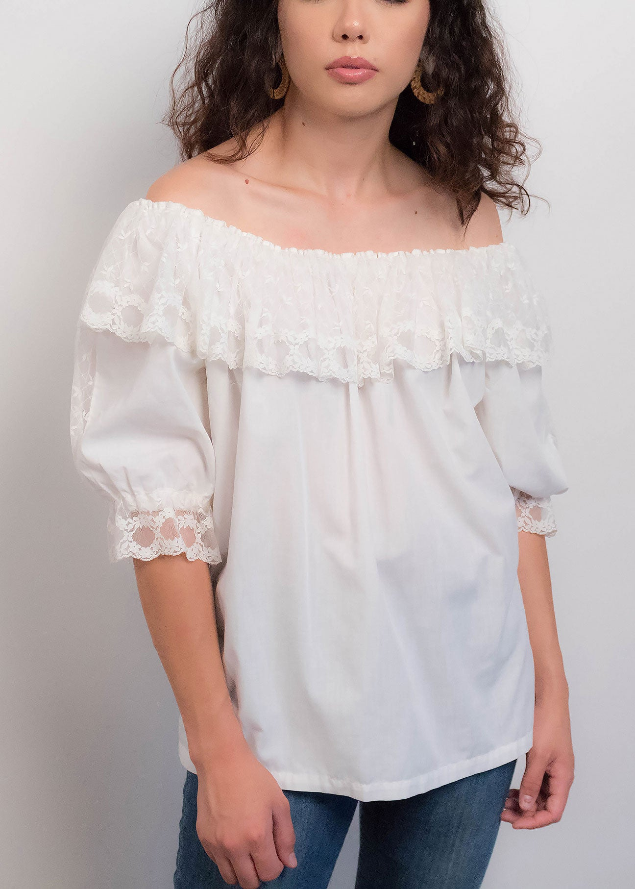 70s Off Shoulder Mexican Top