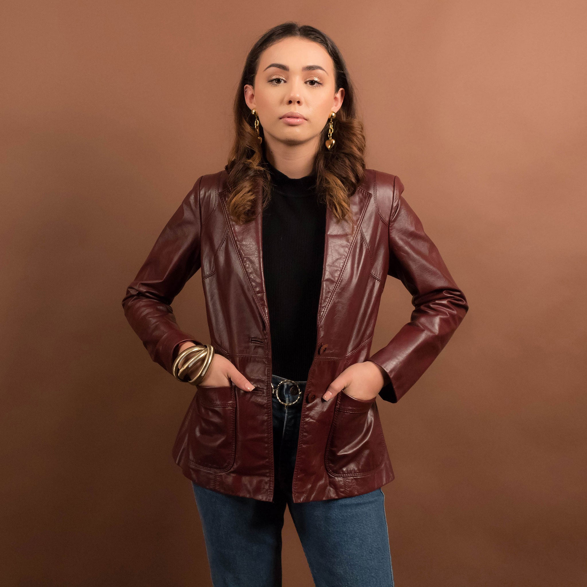 70s Rich Burgundy Leather Jacket