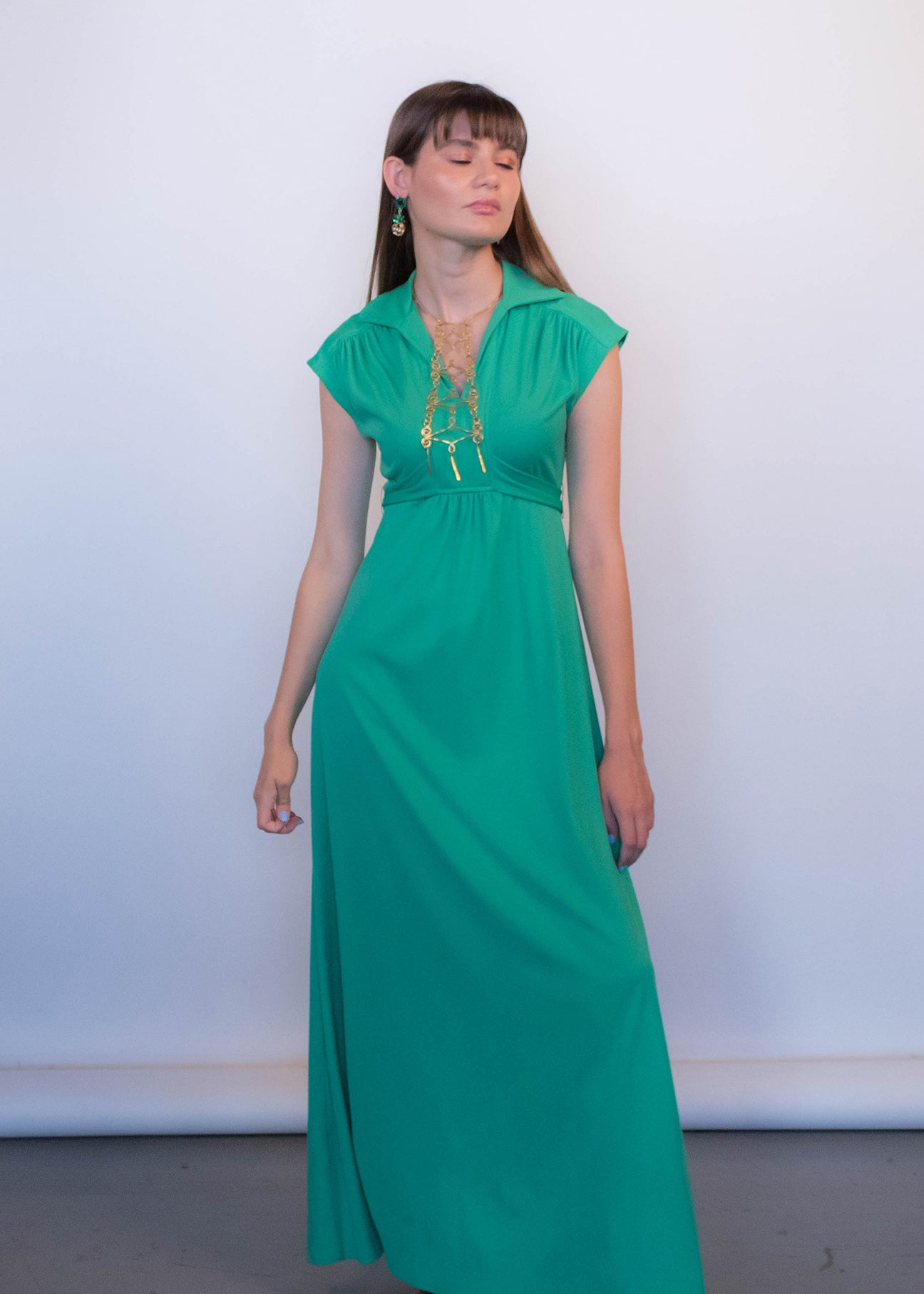 70s Mint Green Boho Dress