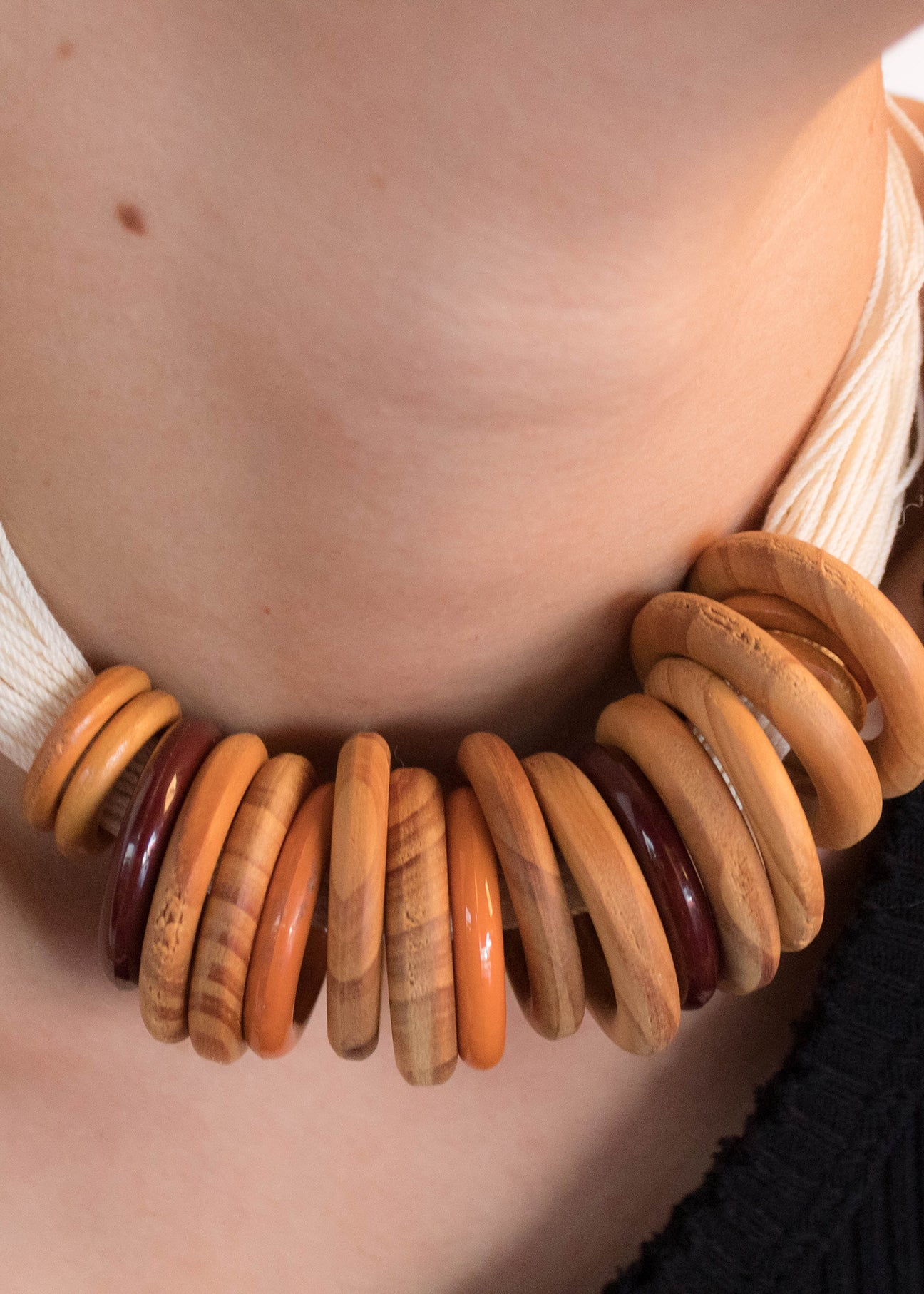 70s Boho Wood Necklace