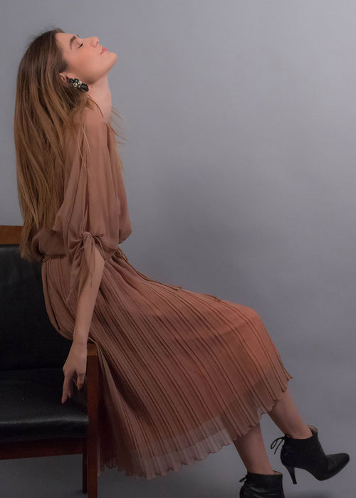 70s Sheer Pleated Dress