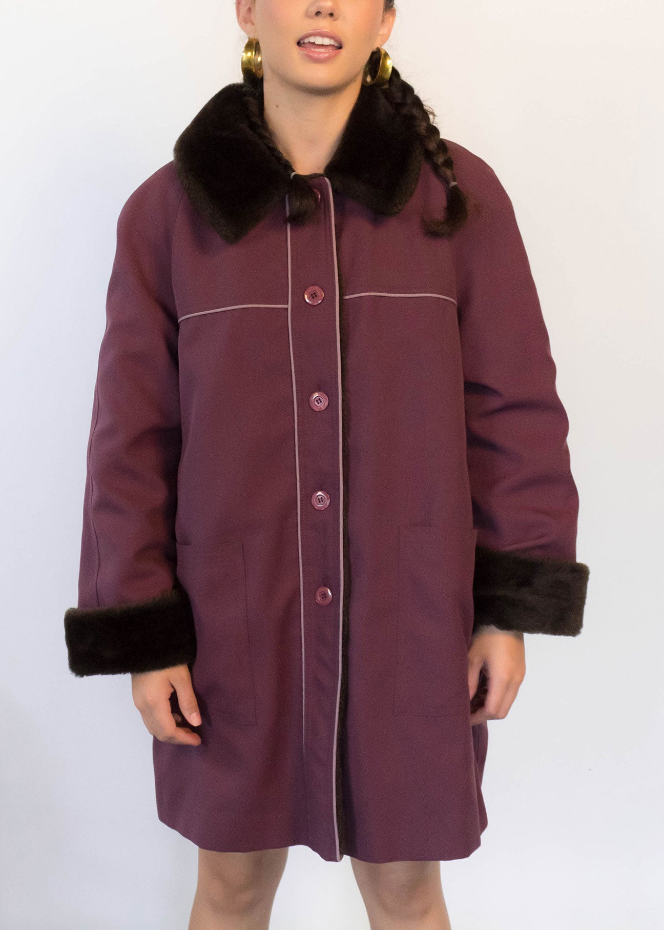 70s Faux Fur Raincoat