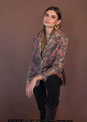 70s Asian Floral Quilted Jacket