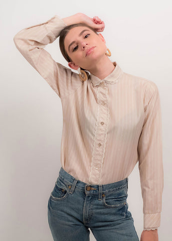 70s Striped Lurex Disco Blouse