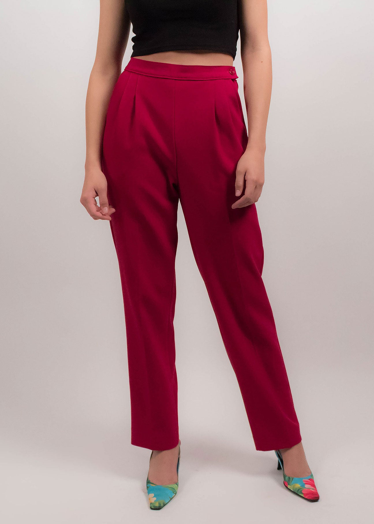 70s High-Waisted Fuchsia Trousers