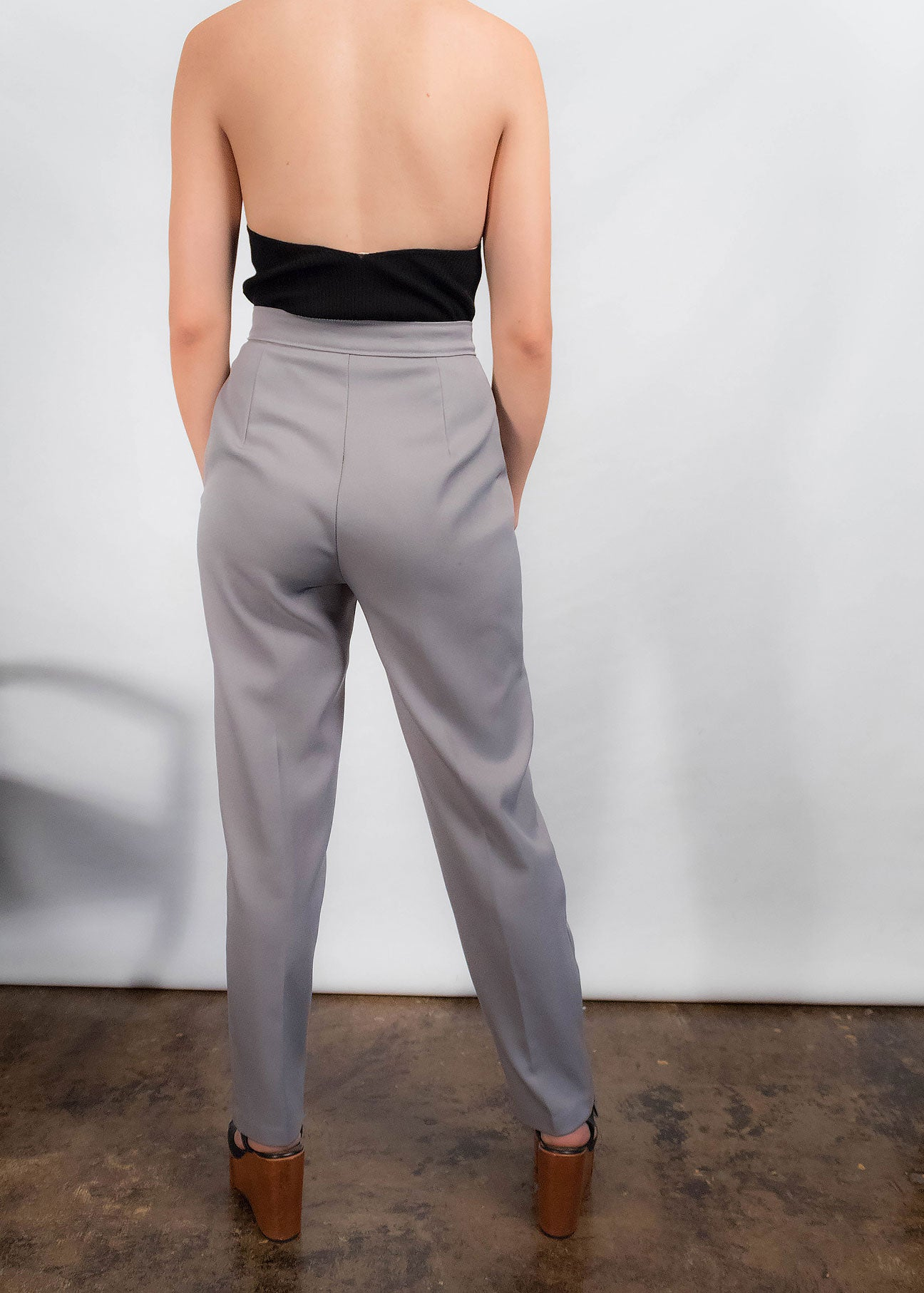70s High-Waisted Gray Trousers