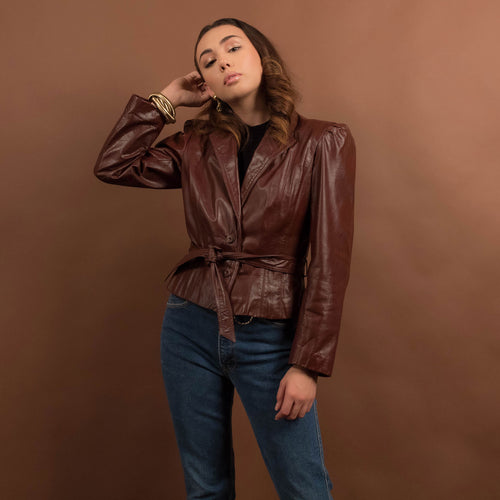 70s Boho Crop Leather Jacket