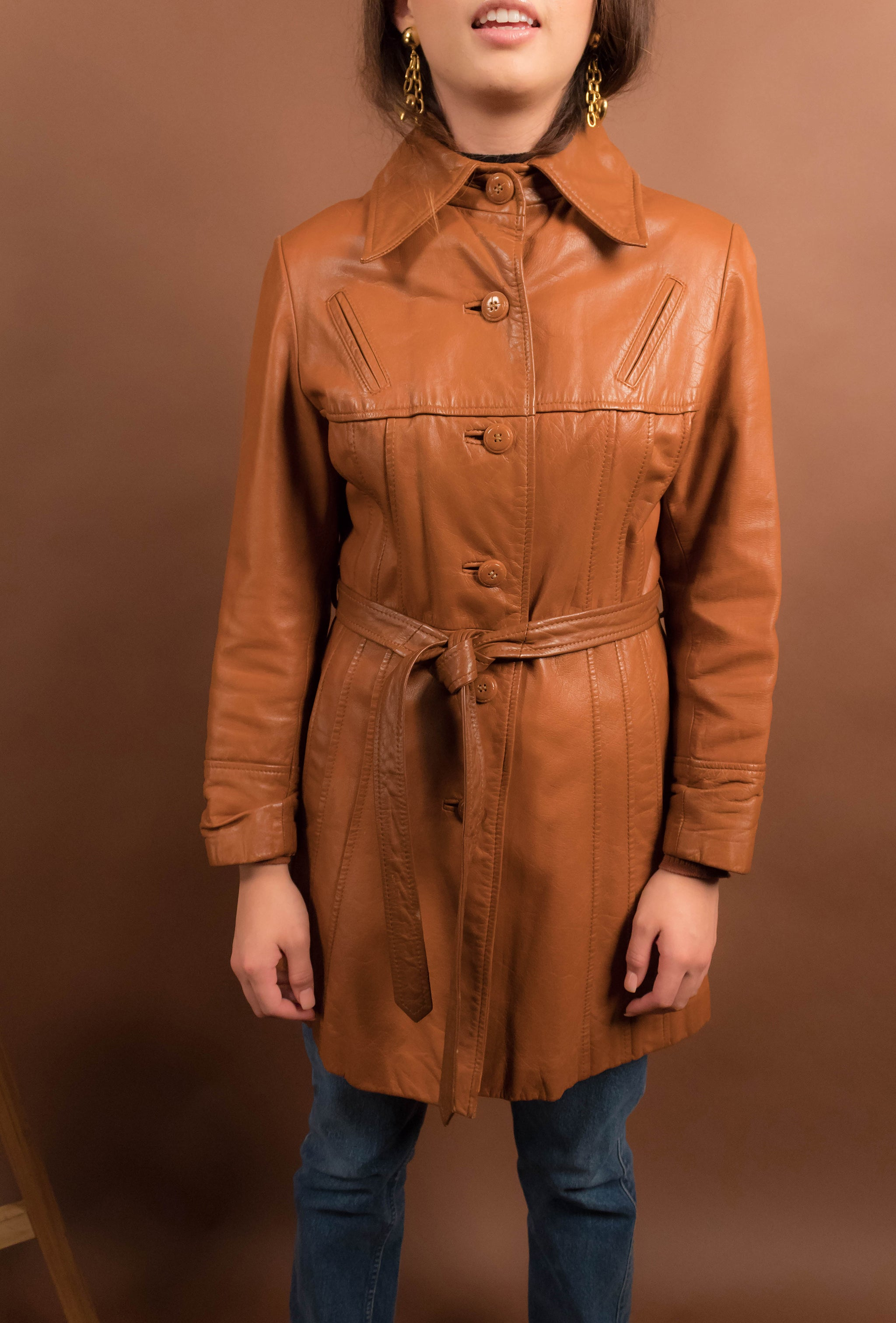 70s Pleated Boho Leather Jacket