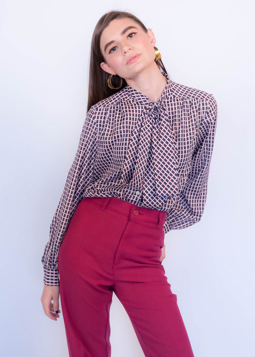 70s Plaid Pussy-Bow Blouse