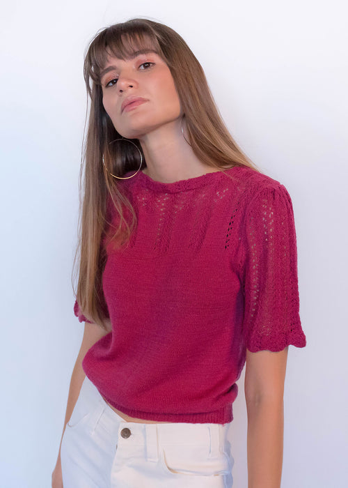 80s Knit Pointelle Top