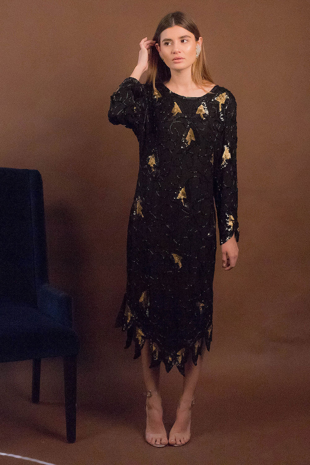 70s Glass Beaded and Sequins Silk Dress
