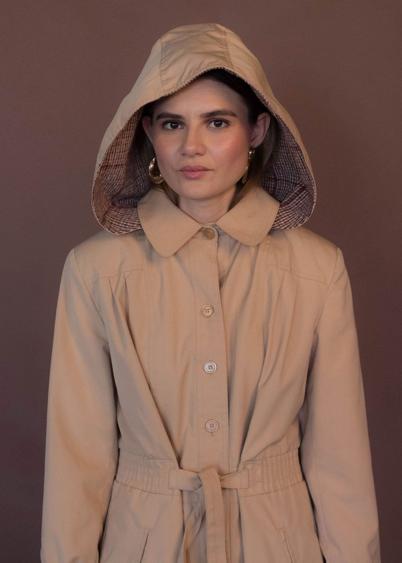 70s Khaki Hooded Trench Coat