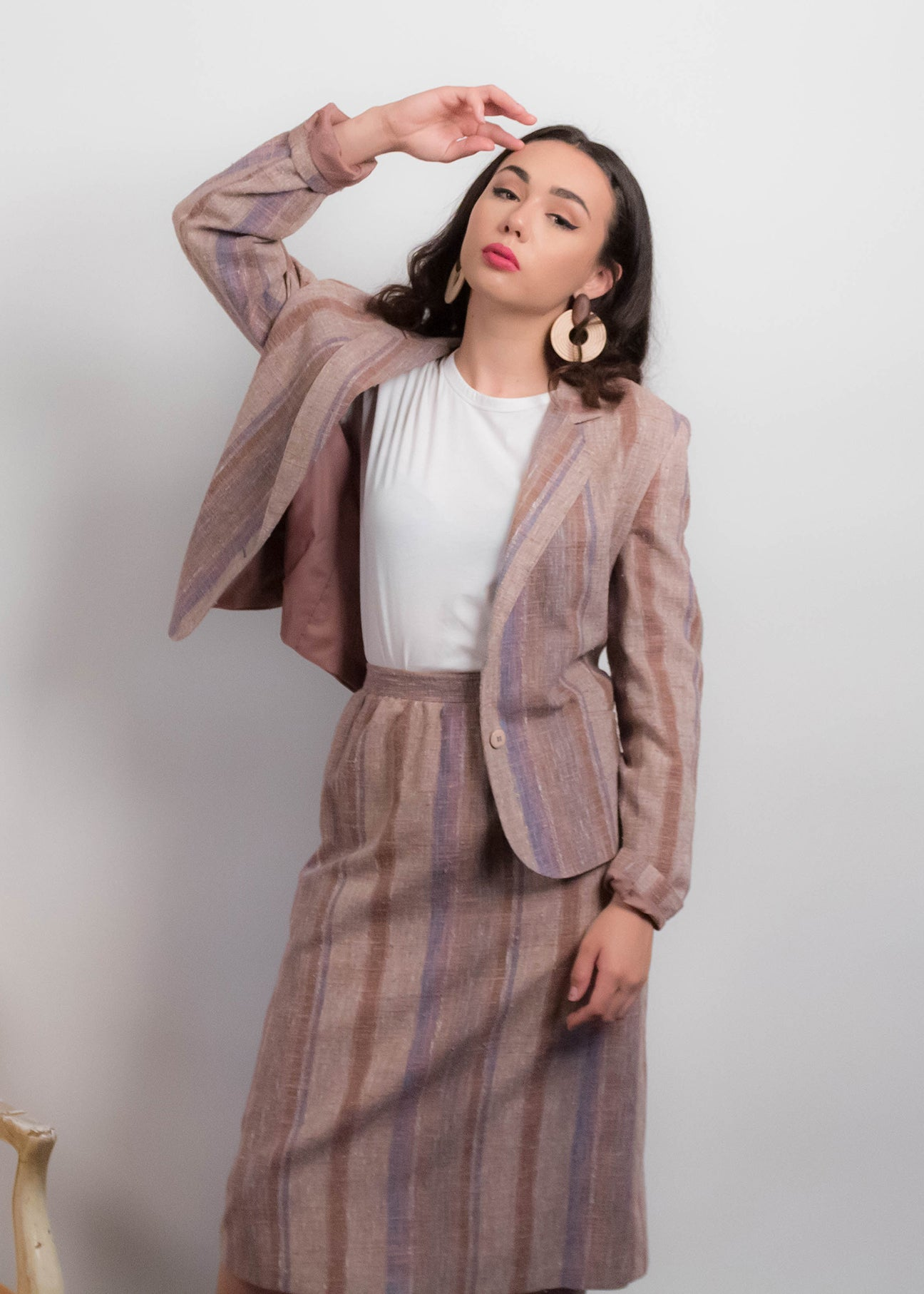 70s Linen Blazer and Pencil Skirt Suit
