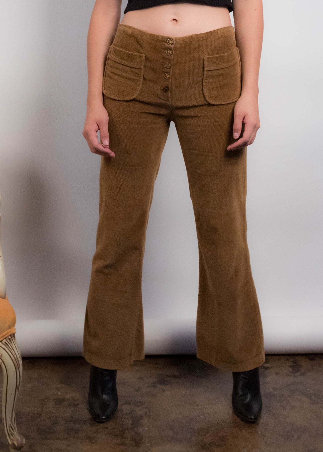 60s Corduroy Hip-Hugger Bell-Bottom Pants